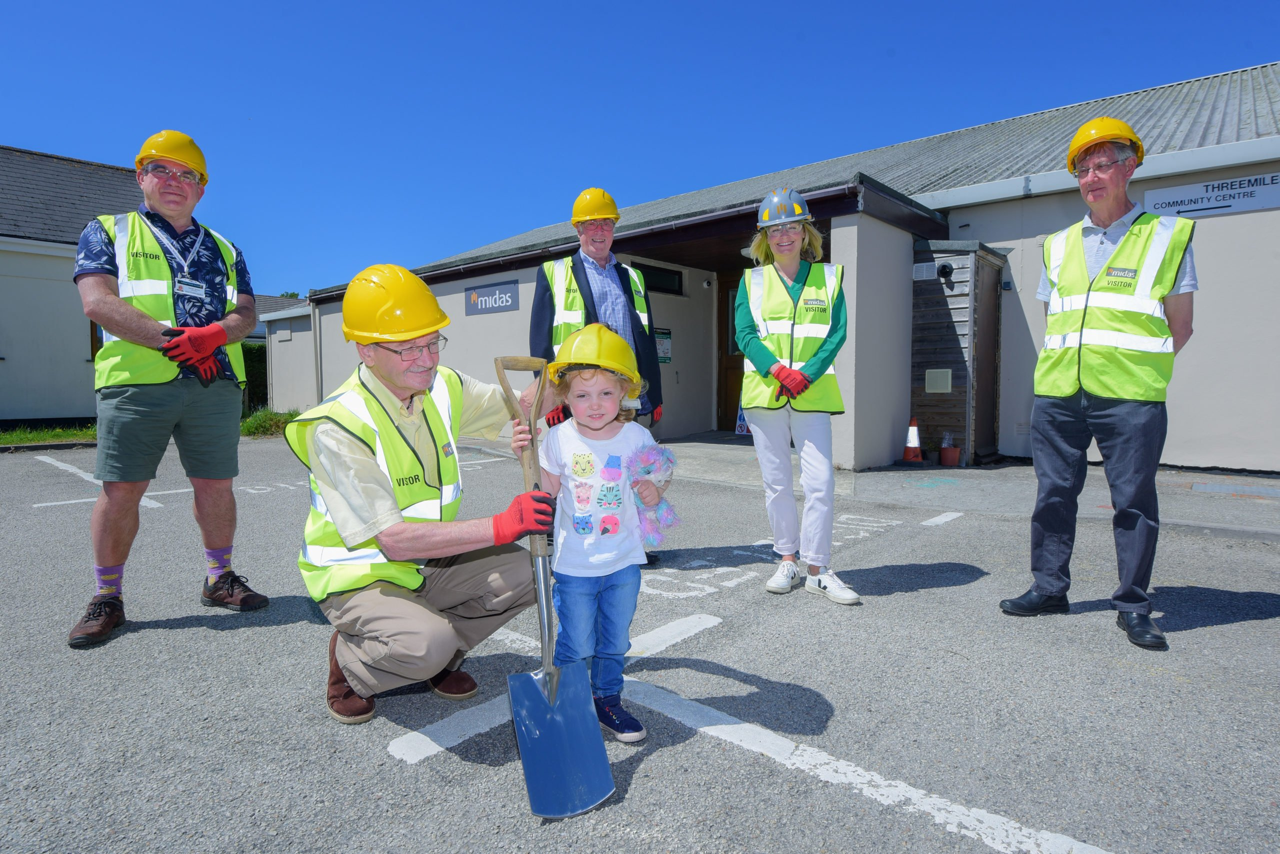 Red letter day for Threemilestone as work starts on extension of community centre